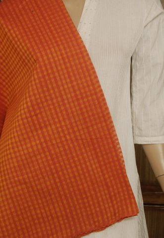 Orangeish Red Boddu Checks  Handwoven Cotton Fabric
