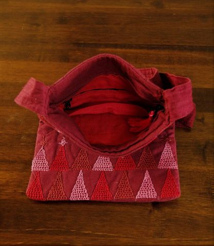 Maroon Hand Embroidered Cotton Sling Bag