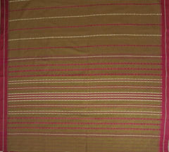 Light Brown With Pink Traditional Design Bengal Cotton Saree