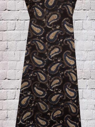 Black Paisley Block Printed Cotton Fabric
