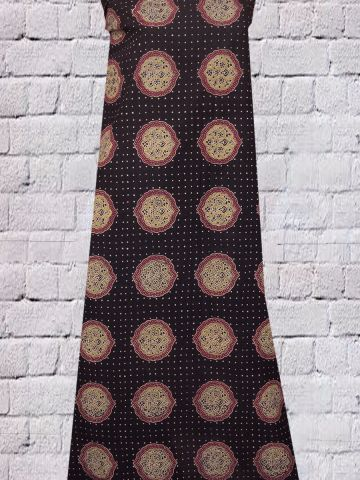 Black Block Printed Ajrak Cotton Fabric