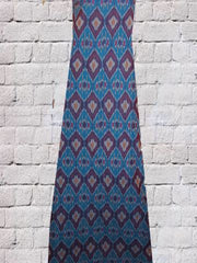 Blue Subtle Stripes Diamond Pattern Handwoven Ikat Fabric