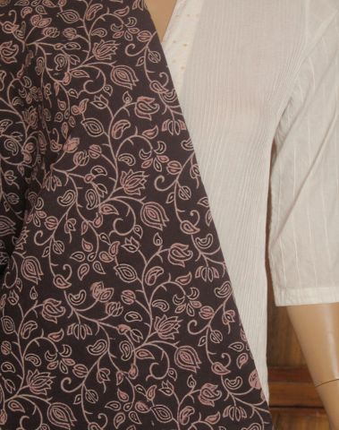 Louts In Brown Block printed Cotton Fabric
