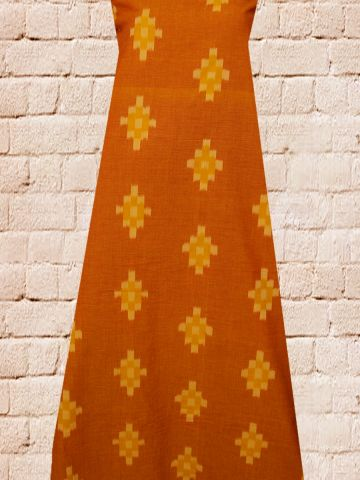 Orange Checks Pattern Handwoven Ikat Fabric
