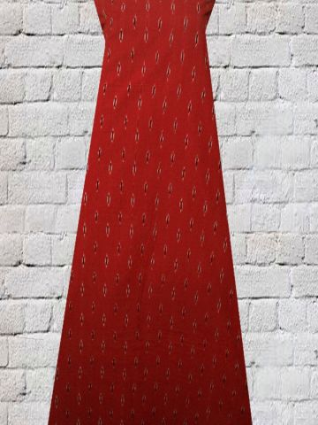 Red with Black Handwoven Ikat Fabric
