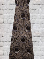 Black With Blue Spirals Screen Printed Kalamkari Cotton Fabric