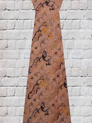 Beige with Maroon Intricately Screen Printed Kalamkari Cotton Fabric