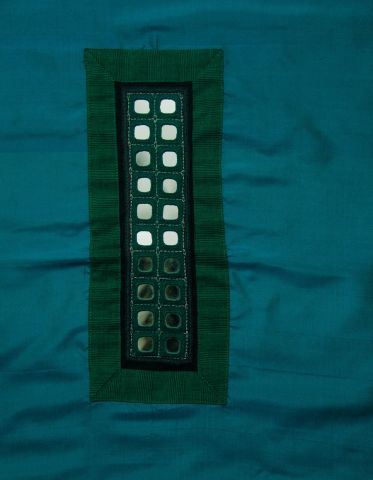 Blue Green Silk Fabric with Mirror Embroidered yoke