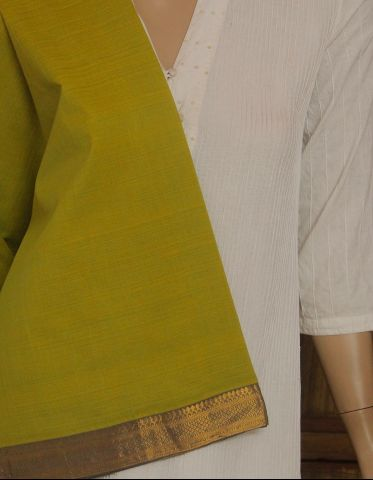 Yellowish Green Mangalagiri Zari border Handwoven Cotton Fabric