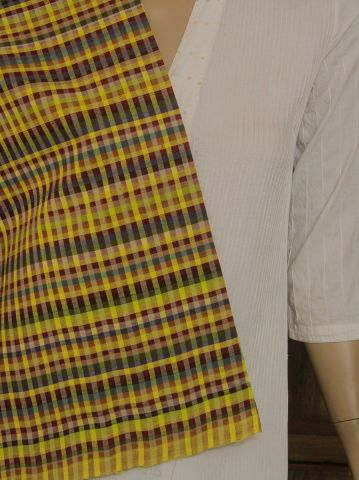 Multi Colours Boddu Checks  Handwoven Cotton Fabric
