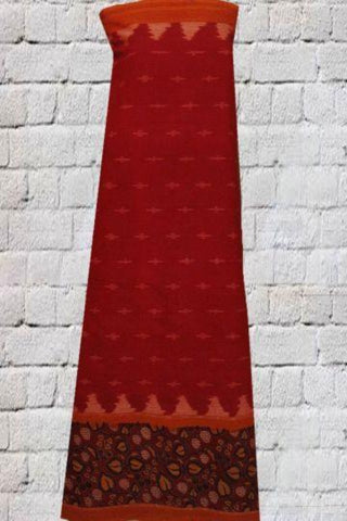 Red With Blue Leaves Printed Ikat Kalamkari Fabric