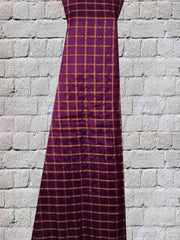 Purple Checks Handwoven Silk Fabric