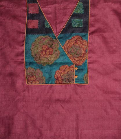 Pink Tussar Silk with Kantha work Silk Patch