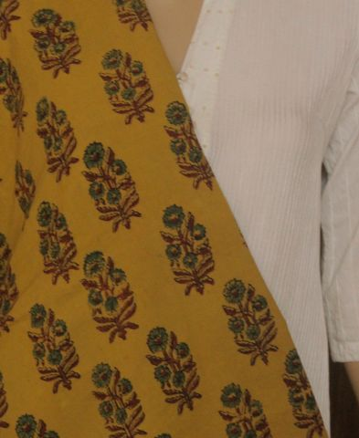 Yellow With Green Flower Block Printed Ajrak Cotton Fabric