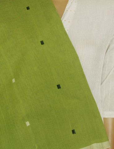 Neon Green With Black & White Squares Handwoven Khadi Cotton Fabric