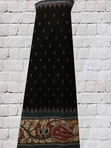 Black Hand Painted Ikat Kalamkari Fabric