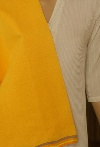 Yellow Stripes Handwoven Cotton Fabric