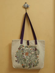 Purple with Fish Hand Madhubani Painted Bag
