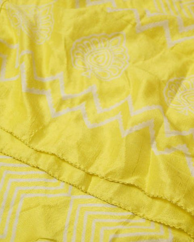 Lemon yellow hand printed silk stole