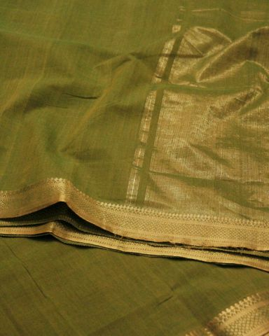Double shade green Traditional Border Mangalagiri Cotton Saree