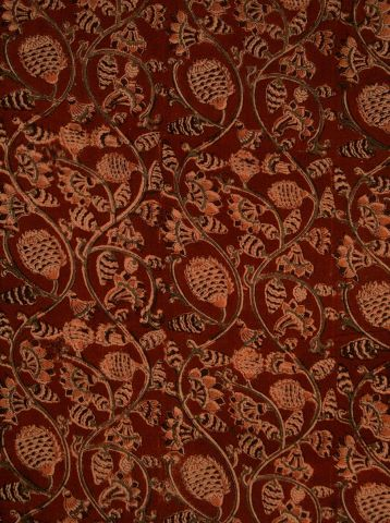 Red with Peach Pineapples  Hand Printed Malkha Cotton Fabric