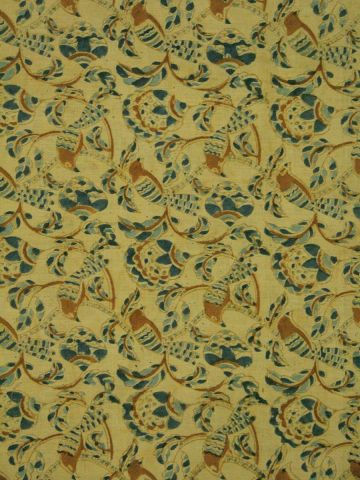 Ivory with Indigo Birds On Branches hand printed Malkha Cotton