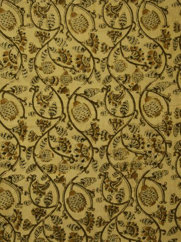 Light Yellow floral hand printed Malkha Cotton Fabric