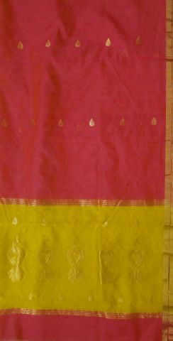 Yellow with Pink Handwoven Chanderi Silk Cotton Top and Dupatta
