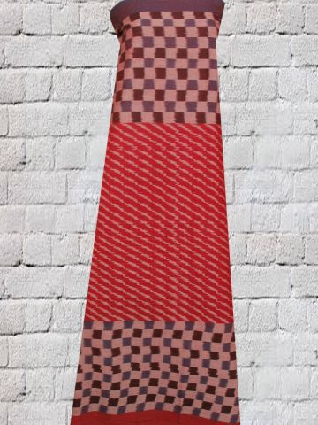 Red With Checked bordered Ikat Fabric