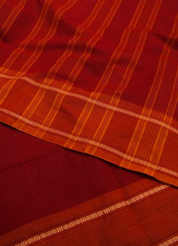 Red with Orange Handwoven Cotton Saree
