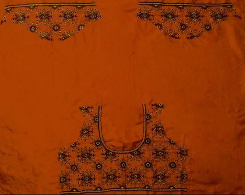 Orange Silk Hand done Kutch Work Blouse Fabric