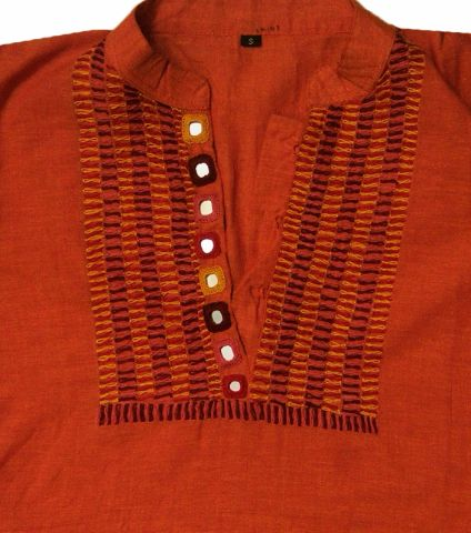Orange Hand Embroidered Lambani Kurta S