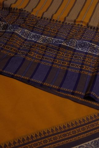 Yellow With Blue Big Border Handwoven Bengal Cotton Saree