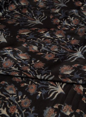 Black Floral Ajrak Modal Silk Fabric