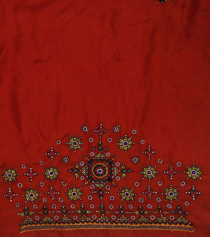 Red Silk Hand done Kutch Work Blouse Fabric