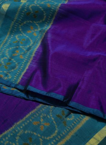 Purple With Blue Border Handwoven Patola Ikat Silk Stole
