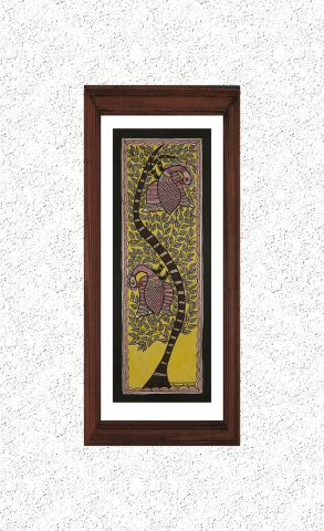 Birds on Tree - Madhubani Hand Painted Wall hanging