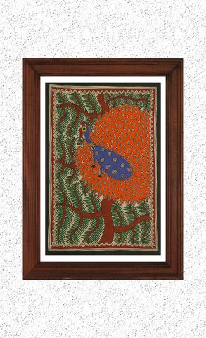 Dancing Peacock - Madhubani Hand Painted Wall hanging