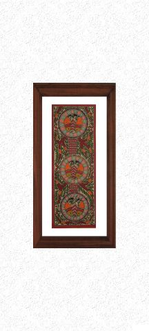 Fishes in Circles - Madhubani Hand Painted Wall hanging