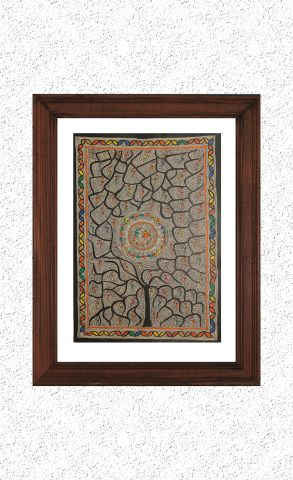 Big Tree - Madhubani Hand Painted Wall hanging