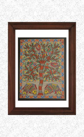 Living Tree - Madhubani Hand Painted Wall hanging