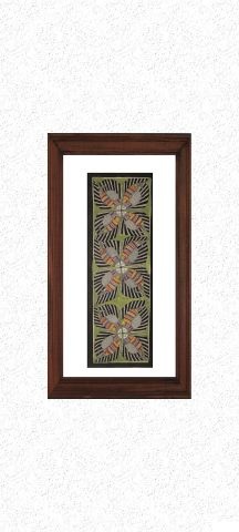 Green Four Petals - Madhubani Hand Painted Wall hanging