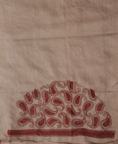 Light Pink with Red Cut to Stitch Kantha Work Tussar silk fabric