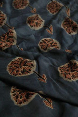 Blue With Maroon Flower Ajrak Modal Silk Fabric