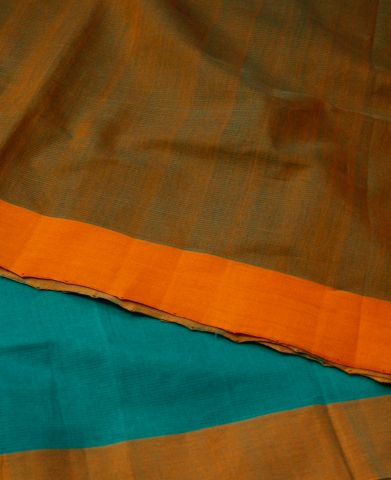 Blue with Yellow Fine Stripes Missing Weave Handwoven Cotton Saree
