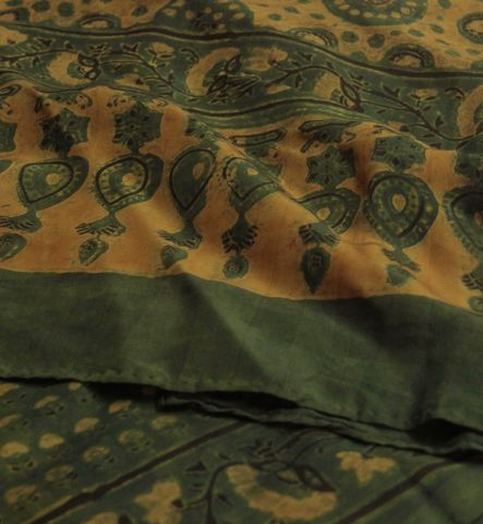 Green With Yellow Tiny Flowers Mulberry Silk Stole