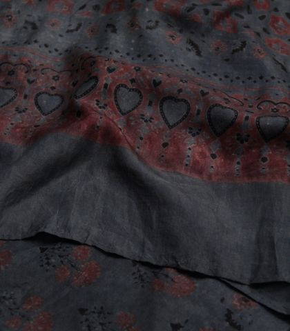 Indigo With Red Flower Mulberry Silk Stole