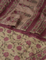 Beige with Pink Hand Printed Tussar silk Saree