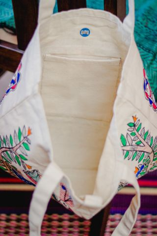 Off -White Hand Painted Madhubani Bag