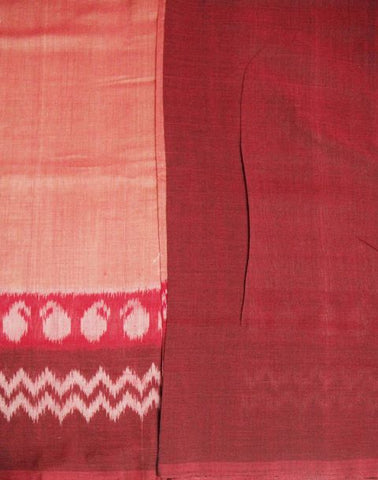 Brown with Maroon Handwoven Ikat Cotton Saree